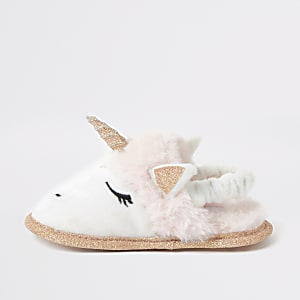 Mini girl pink faux fur unicorn slipper