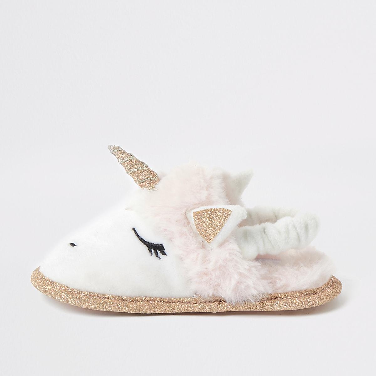 Mini - Roze eenhoornpantoffel van imitatiebont voor meisjes