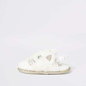 Mini – Katzen-Hausschuhe in Creme für Mädchen