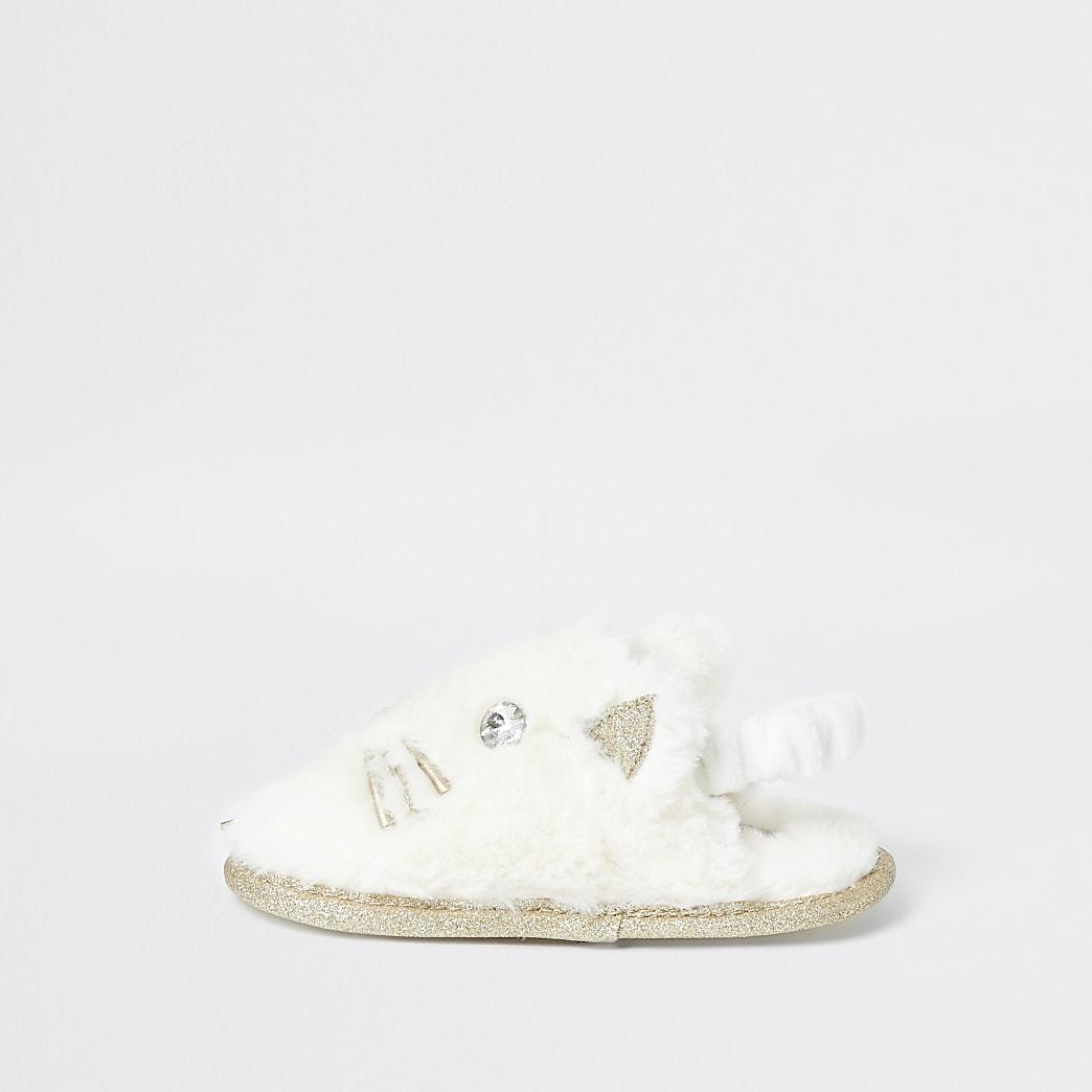 Mini girls cream cat slippers