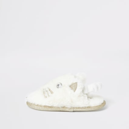 Mini girls cream cat slippers