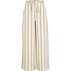 Girls yellow stripe wide leg pants