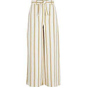 Pantalon large rayé jaune pour fille