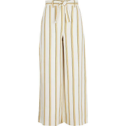 Girls yellow stripe wide leg trousers