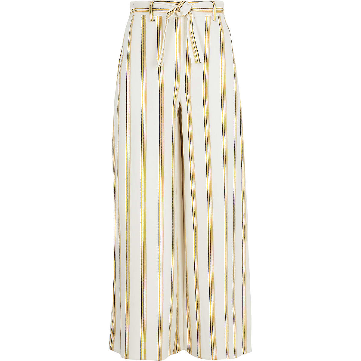 Girls yellow stripe wide leg trousers