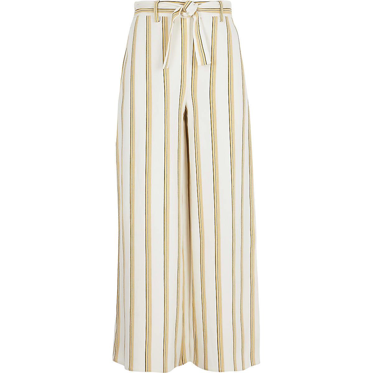 Girls yellow stripe wide leg pants