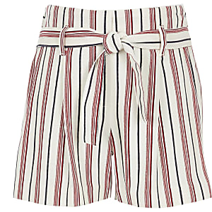 Girls red stripe shorts