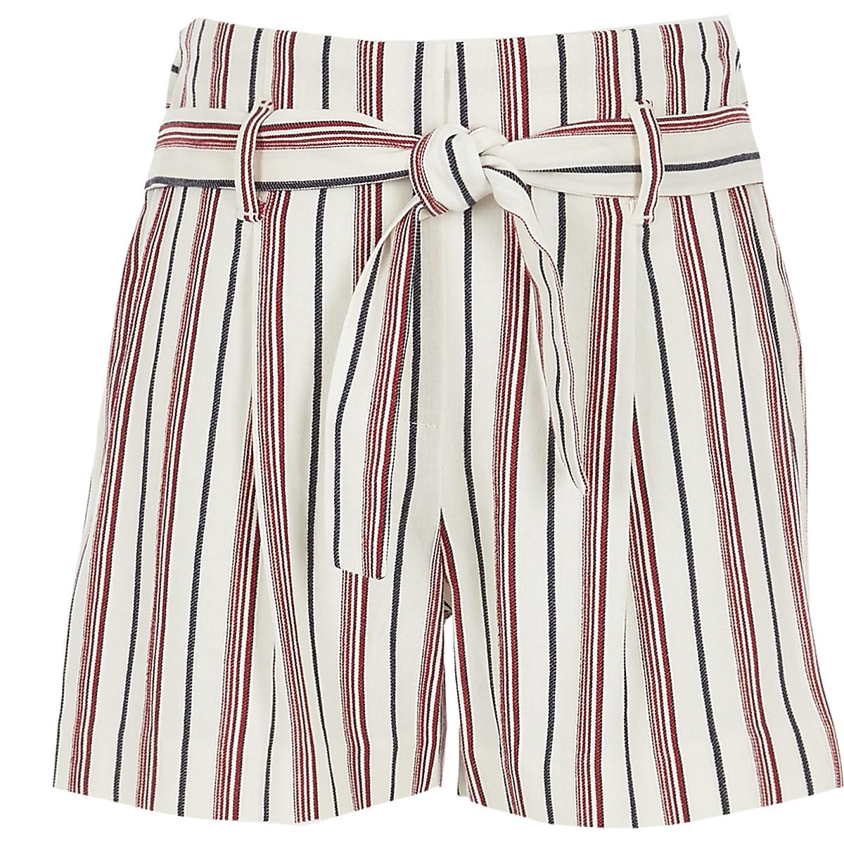 Girls red stripe shorts