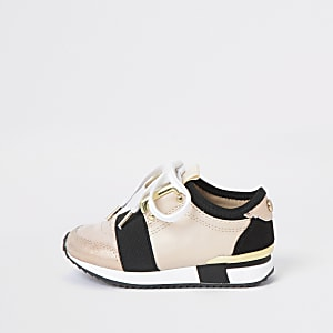 Mini girls pink lace-up runner trainer