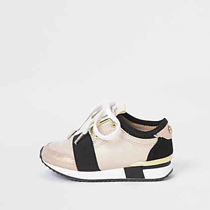 Mini girls beige elasticated runner trainers