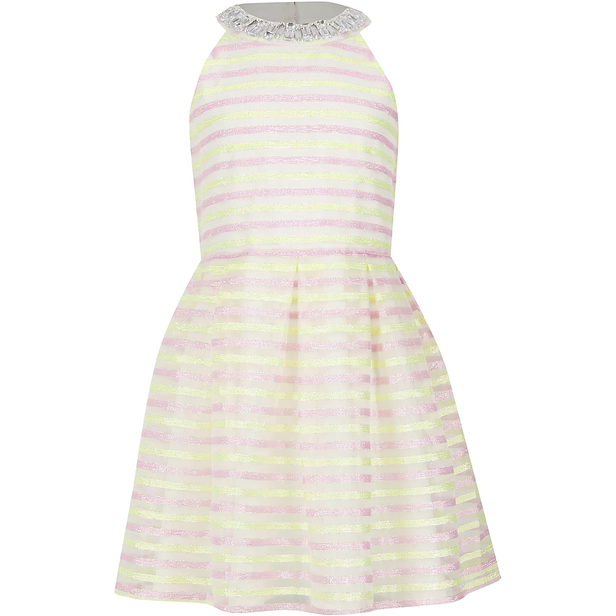Girls white stripe prom dress