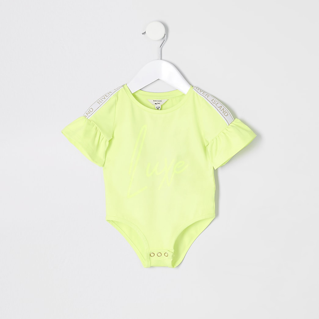 Mini girls RI Active neon green bodysuit