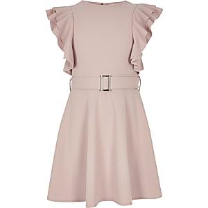 Robe rose à volants avec ceinture pour fille