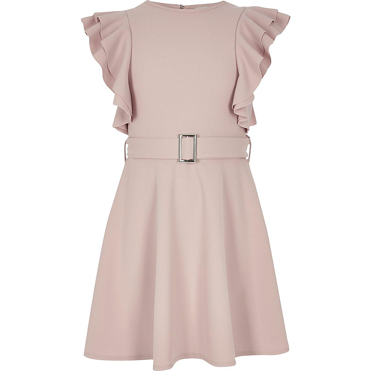 Girls pink ruffle belted dress