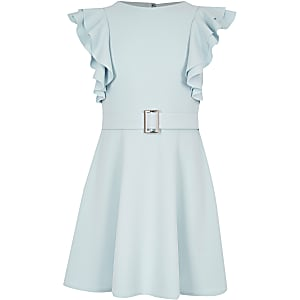 Girls blue ruffle belted dress