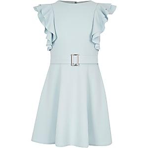 Blauwe jurk met ruches en ceintuur voor meisjes