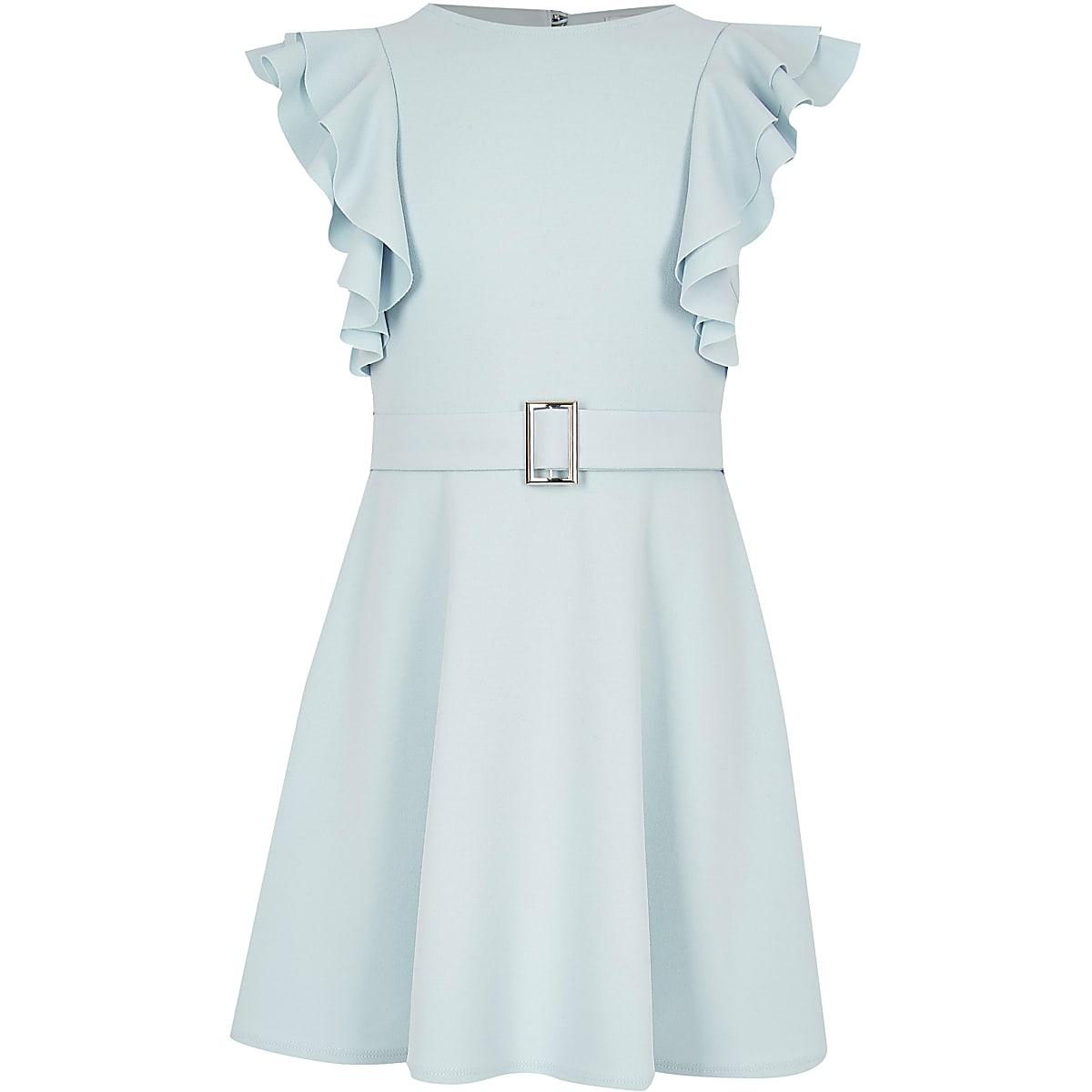Girls blue ruffle belted dress