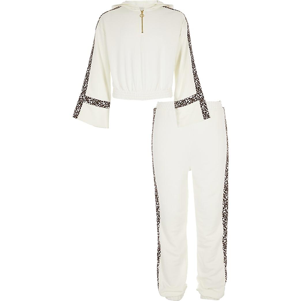 Outfit met witte hoodie met luipaardprint voor meisjes