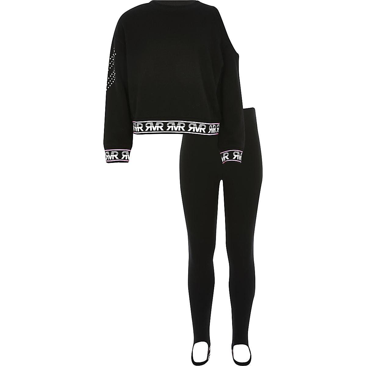 Girls black one shoulder sweatshirt outfit