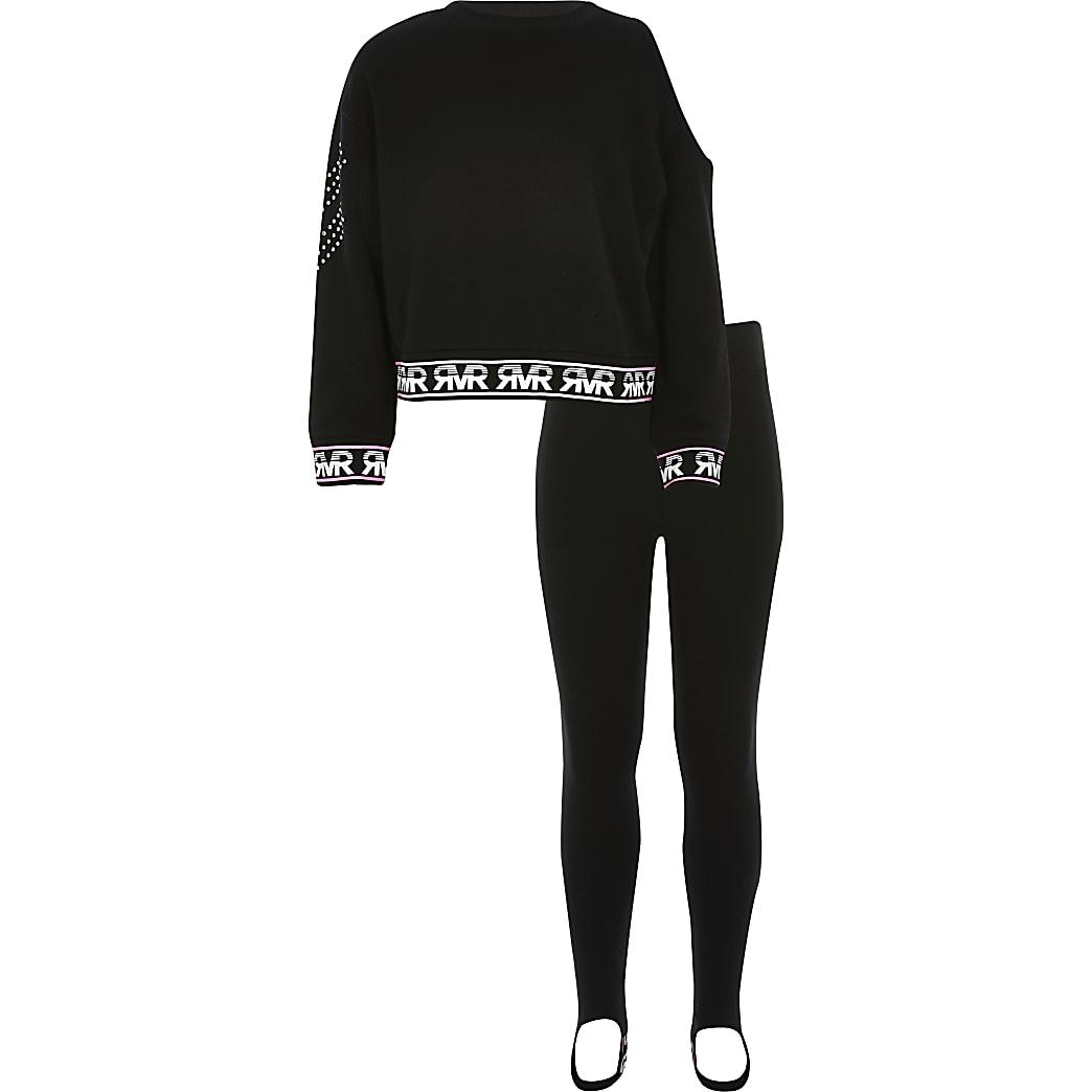 Outfit met zwart sweatshirt met één blote schouder voor meisjes