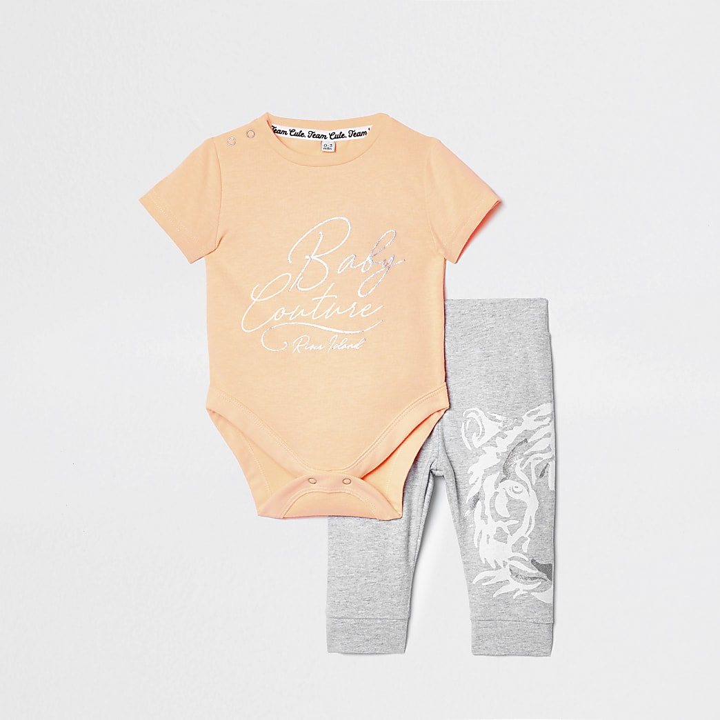 Baby orange 'baby couture' babygrow outfit