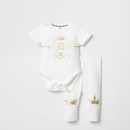 Baby cream 'royalty' bodysuit leggings outfit