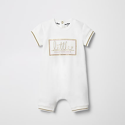Baby cream 'Little Heartbreaker' romper
