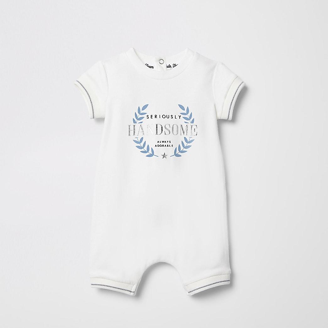 Crème rompertje met 'seriously handsome'-print voor baby's