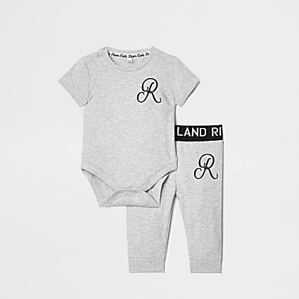 Baby grey RI baby grow and legging outfit