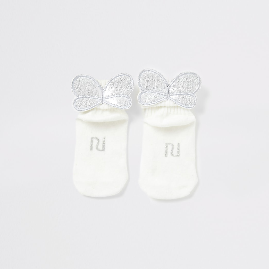 Baby cream bee wing socks