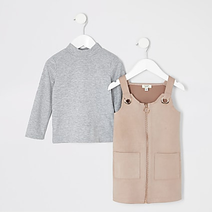 Mini girls pink faux suede pinafore outfit