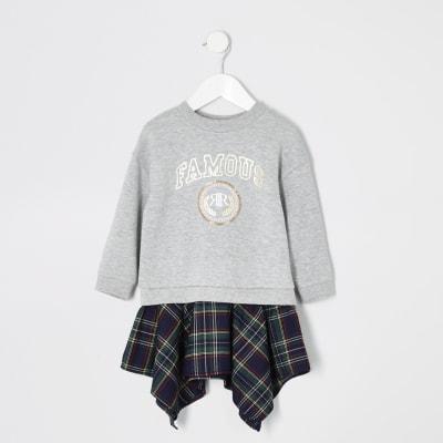 Mini Girls Grey 'famous' Sweat Dress by River Island