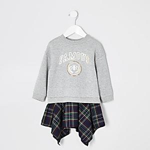 Mini - Grijze trui-jurk met 'famous'-print voor meisjes