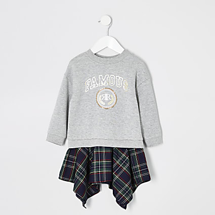 Mini girls grey 'famous' sweater dress