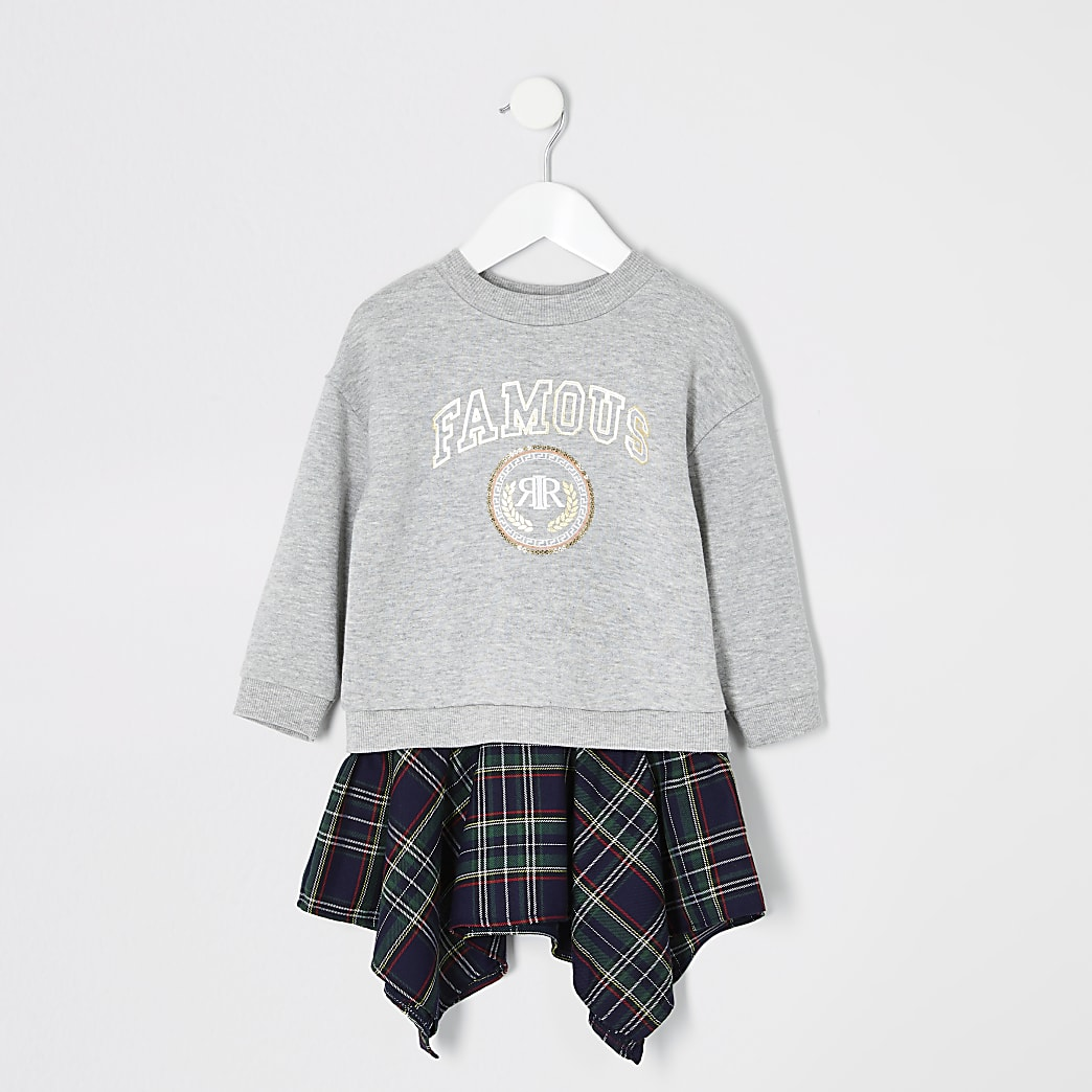 Mini girls grey 'famous' sweatshirt dress