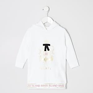 Mini - Witte hoodie-jurk met print voor meisjes