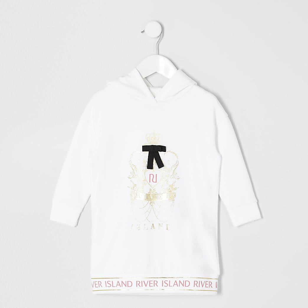 Mini girls white printed sweatshirt dress