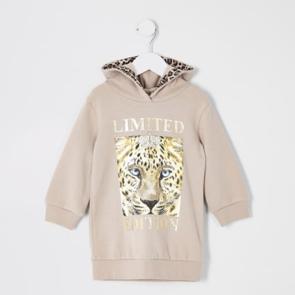 Mini girls beige printed hoodie dress