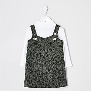 Pinafore-Kleiderset mit Leoparden-Print für kleine Mädchen