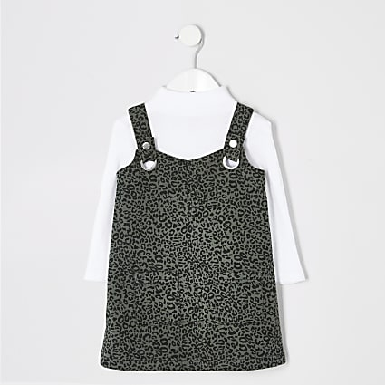 Mini girls leopard print pinafore dress set