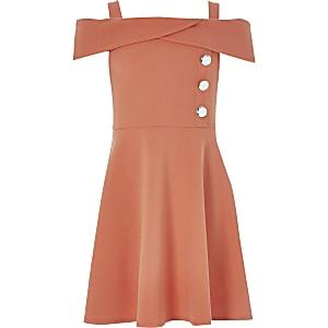 Korallenrotes Bardot-Kleid
