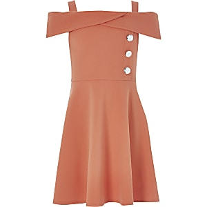 Girls coral bardot neck dress