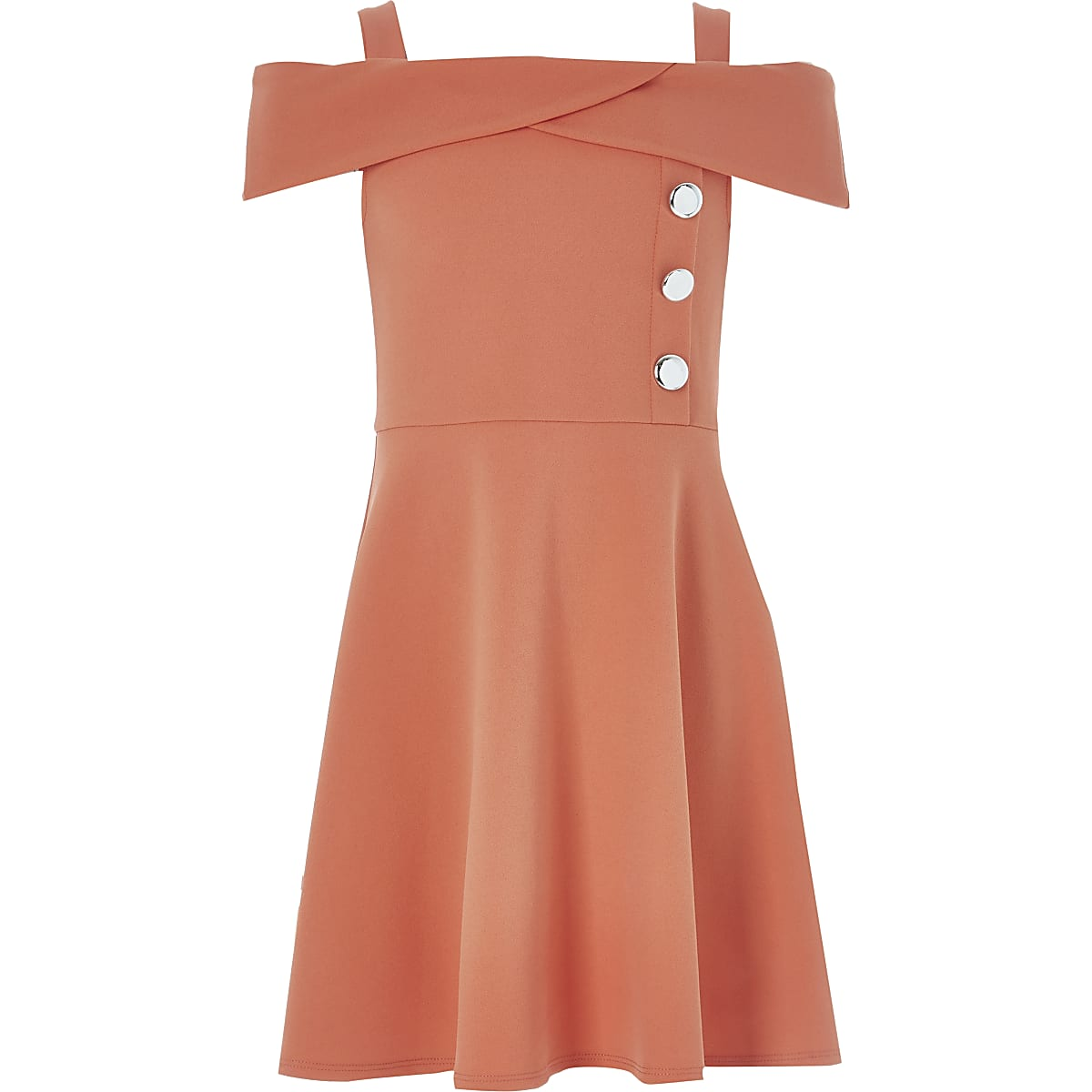 Girls coral bardot neck dress