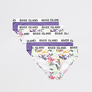Witte slips met 'Scribble' print voor meisjes multipack