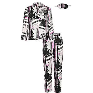 Pinkes Pyjama-Set aus Satin mit RI-Print in einer Schachtel