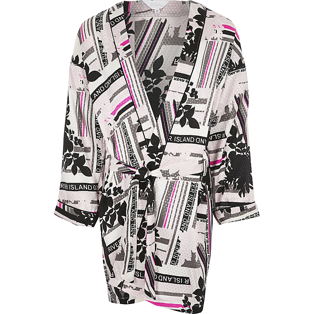 Girls black RI print satin robe