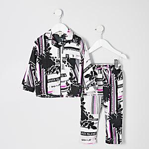 Mini – Pinkes Pyjama-Set mit RI-Monogramm für Mädchen