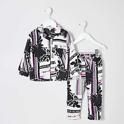 Mini girls pink RI printed pyjama set