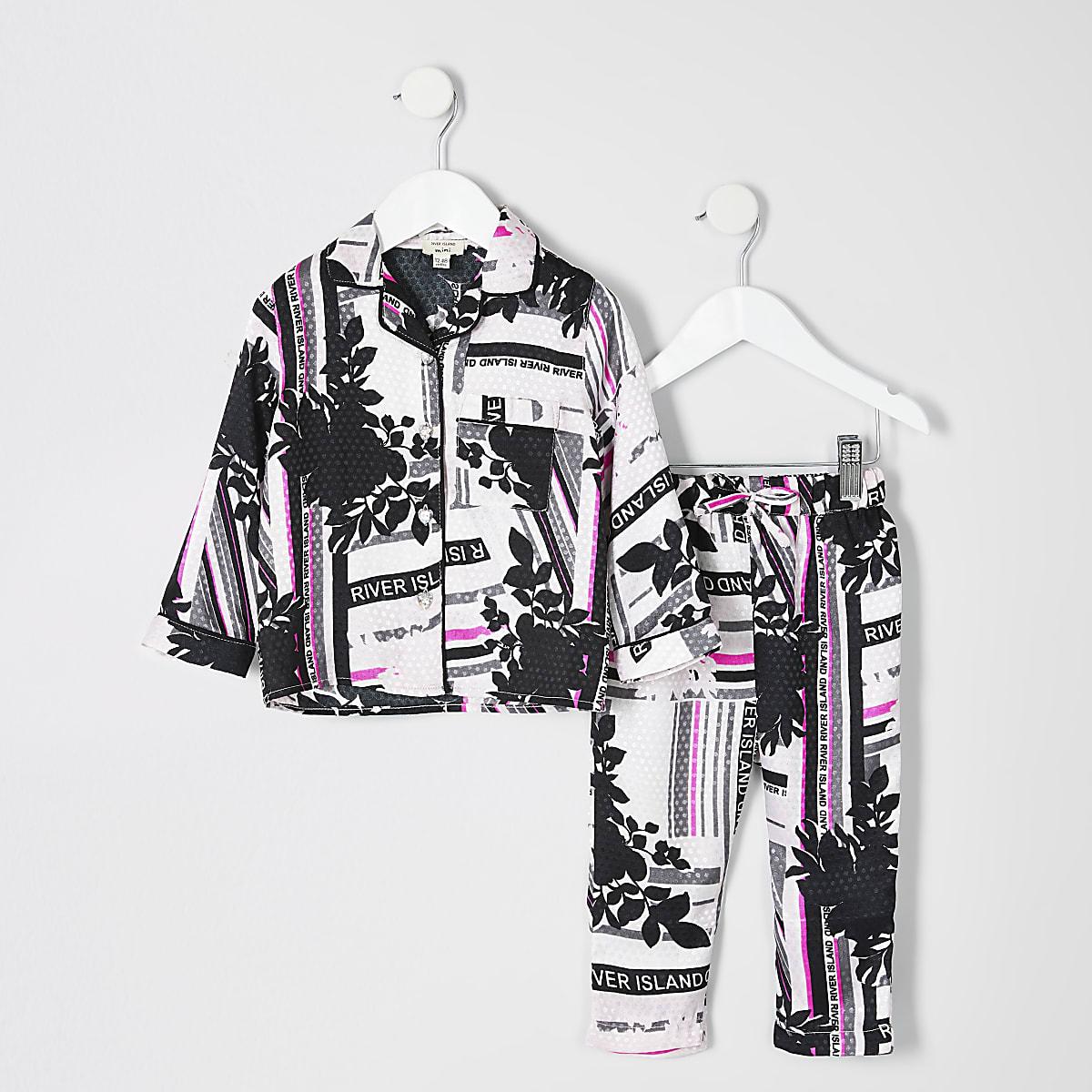 Mini girls pink RI printed pyjama set