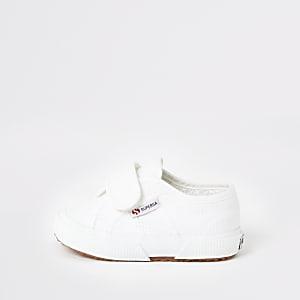 Superga – Weiße Plimsolls mit Klettverschluss